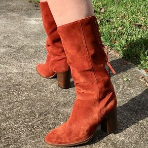 🌼 Vintage 🌼 Coach Wooden Heeled Suede Boots